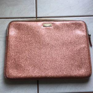 Kate Spade rose gold glitter laptop case